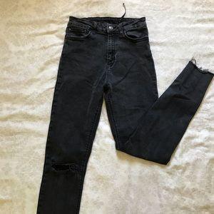 Zara High Rise Skinny Stretch Denim Gray-Black